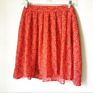 Old Navy • Red Floral Chiffon Skater Skirt